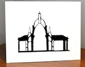 Architecture Papercut, Pantheon de Paris, 11x14 or 8x10 Original hand-cut paper art