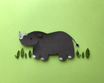 Zoo, Jungle, Safari, Nursery Decor, Rhino Paper Cutout