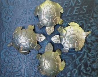 4 Vintage Pins White Metal Turtle Snapper