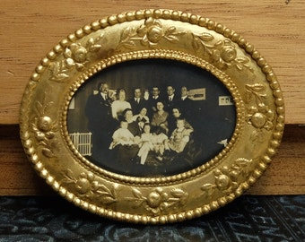 Vintage Photograph Supply Metal Frame Finding Brass Stamping Oval
