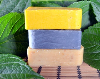 3 Bars Natural Handmade Soap - Pure Essential Oils and Botanicals,  Citrus, Lavendar, Mint, Rosemary, Honey, Oats, Coconut, Olive Oil