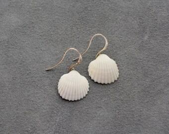 Seashell drop earrings, Mermaid jewelry, minimalist style