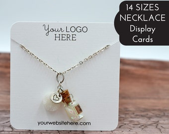 14 SIZES | Custom Necklace Cards with Your Logo - Jewelry Display - Chain - Personalized - Packaging - Necklace Tags | BT01TM