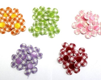 25 Flower Padded gingham appliques crafting sewing #9