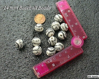 Baseball Beads, Beading Supplies, Jewelry Supplies, Sports Beads, Porcelain Baseball Beads