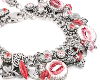 Kiss Bracelet, Lips Charm Bracelet, Valentines Bracelet, Love Jewelry, Romantic Jewelry, Sealed with a Kiss Jewelry