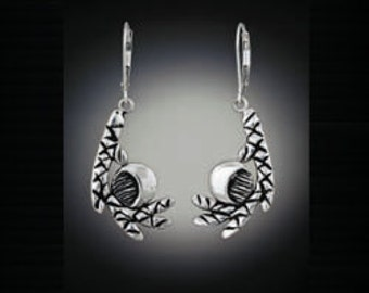 "Sterling silver earrings, ""The Moon Through Cedars"" Recycled silver earrings"
