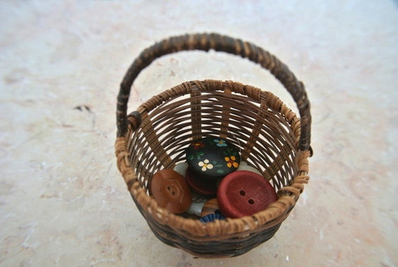 Buttons in a basket for children play, Waldorf education, antique vintage flowers buttons