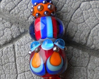 CIRCUS Set Lampwork Beads by Cherie Sra R114 Flameworked Glass Beads Red Orange Turquoise Blue Encased Stripe Silver Glass Raised Dots Bead