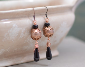 Black and Copper Pearl Earrings