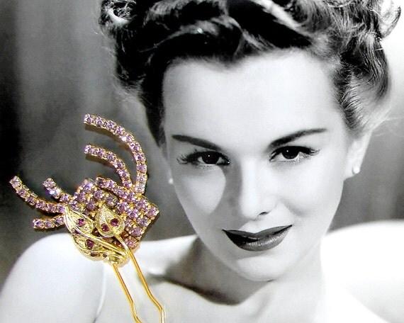 Amethyst Purple Rhinestone Hair Comb Jeweled Hairpiece Vintage Jewelry Bridal Headpiece Abstract Flower Lilac Wedding Bohemian Chic Bride