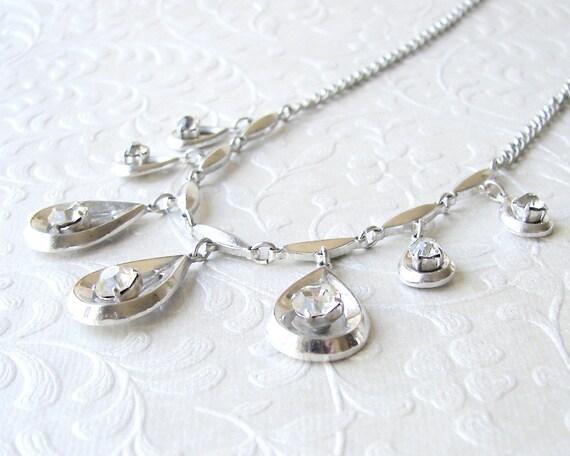 Unique Rhinestone Necklace Multi Teardrop Pendant Vintage Costume Jewelry Accessory Bohemian Chic Renaissance Bride Reign Wedding Prom Queen
