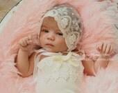 Handmade Lace Newborn White Bonnet