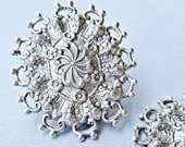 Christmas in July Sale - Large Silver Filigree Stampings for Pendants, Earrings or Embellishing - Made in the USA (4-10-2)