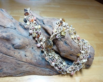 Autumn Splendor Necklace - a Handmade Bead Crochet Necklace with Variety of Gemstone Beads, FW Pearls, Shell Beads, for Dress or Casual Wear