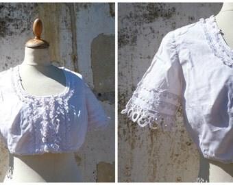 Vintage 1970/70 Tyrol dirndl blouse white cotton october fest size M/L