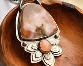 ON SALE Ocean Jasper Necklace, Pink Moonstone Necklace, Detailed Metalwork Jewelry, Handmade Artisan Jewelry, Botanical Design Jewelry