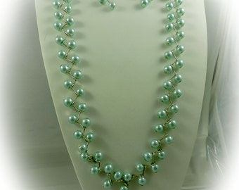Light Turquoise Pearl Zig Zag Necklace and Earrings Set