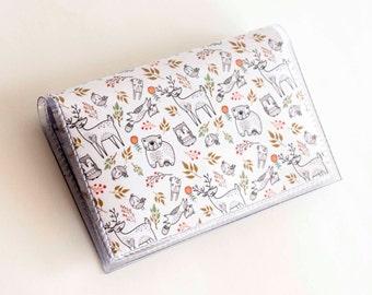 NEW Handmade Vinyl Card Holder - In the Woodland  / card case, vinyl wallet, women's wallet, small wallet, fox, woodland, gift, cute, floral