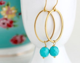 Gold Hoop Earrings With Turquoise Beads -  Oval Dangle Earrings - Boho Chic Earrings - Turquoise and Gold - Bohemian Jewelry - Gold Jewelry