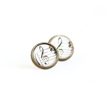 Music Earrings - Gift For Musician - Graduation Gift - Music Teacher - Musical Note - Post Earrings - Music Lover - Gift For Woman