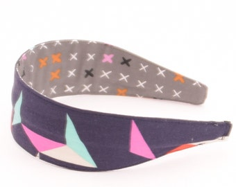REVERSIBLE Tangrams in Indigo Comfort Fit Fabric Headband