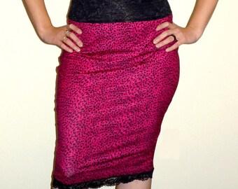 High Waist Fuchsia Hot Pink Leopard Black Pencil Skirt Rockabilly Sale