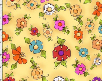Happy Blooms, Flowers in Sunshine Yellow by Loralie Designs, , yard