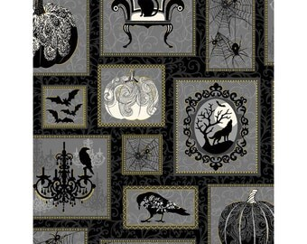 NEW from Henry Glass, Spellbound, Pumpkin Patch, on black/grey,  yard