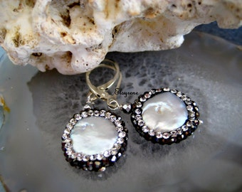 black pave Pearl Earrings-Crystal Cluster Coin Pearl Earrings-Boho Pearl Earrings-Gift for her-genuine Pearl Earrings-Party earrings