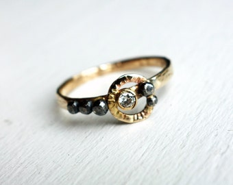 Handmade 14k Gold and Oxidized Sterling Silver Pebble Ring with 2.5mm Diamond
