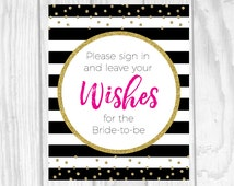 Printable Please Sign In Leave Well Wishes Black and White Stripes 8x10 Guest Book Bridal Shower Sign - Hot Pink and Gold Glitter Polka Dots