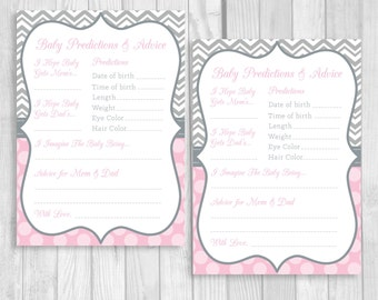 Printable 5x7 Predictions about Baby and Advice for Mom & Dad Pink and Gray Girl's Baby Shower Party Game - Instant Download