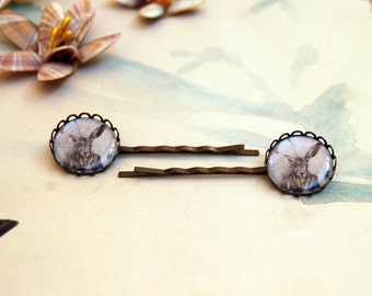 March Hare Bobby Pins Rabbit Art Alice in Wonderland Hair Accessories Hair Pins Rabbit Bobby Pins