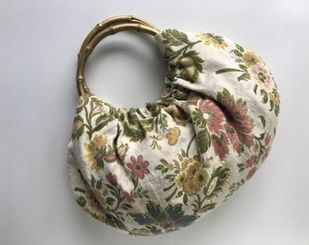 Gold Floral Hobo Purse - Handmade Handbag with Flower Upholstery and Gold Bamboo Handles