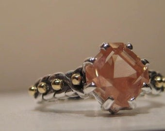 Oregon Sunstone Ring ... Sterling Silver and 14 kt Gold ...  size  7 3/4....   e863