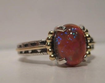 Honey Chocolate Ethiopian Opal Sterling Silver and 14 kt Gold Ring ....... size 7 ....... e875