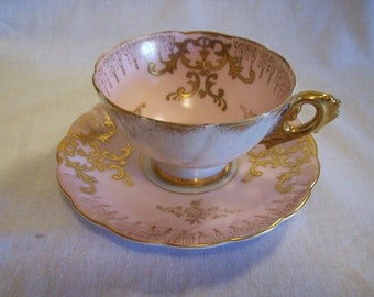 Pink Teacup and Saucer, Pink Royal Sealy Teacup, Iridescent Teacup, Japan Teacup, Lustreware Teacup, Royal Sealy China