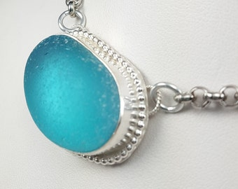 Aqua Sea Glass Pendant Aqua Sea Glass Necklace Aqua Beach Glass Necklace Sea Glass Jewelry - N-387