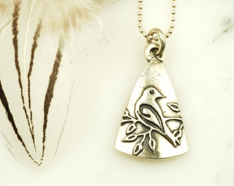Dove Pendant - Sterling Silver Bird Necklace