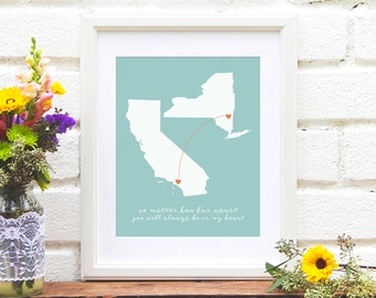 Two States Map, Long Distance Family Map, Miss You Gift, Gift for Her, Gift for Mom, Mother's Day, Engagement Gift, Bridal Shower Gift