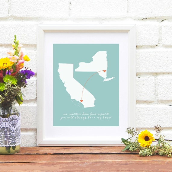 Mother's Day Gift, Gift for Mom Long Distance Family Map, Two States Map, Miss You, Gift for Her, Send Mothers Day gift far away, Mom Quote