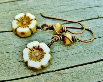 Czech glass flower dangle wire wrapped earrings