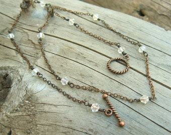 Swarovski crystal wire wrapped necklace with toggle clasp, antiqued copper and crystal necklace, 17 inch necklace