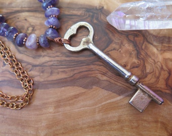 Boho Jewelry - Long Copper Chain Necklace with Amethyst Antique Key - Purple - Bohemian Style - Natural Crystal Gemstone - Gemstone