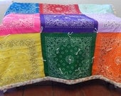hand sewn quilt of multiple colored squares size large