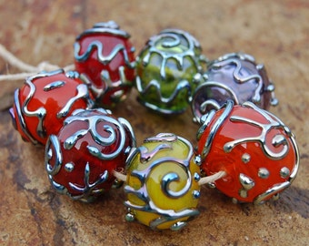 Triton Treasure....7 Hollow Decorated Lampwork Beads...K O Lampwork