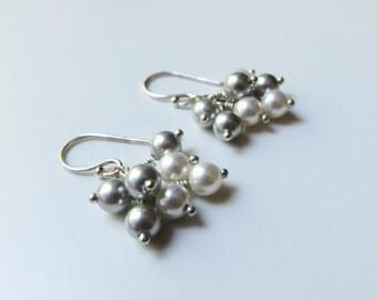 Wintry Pearl Earrings - Swarovski Pearls, Sterling Silver