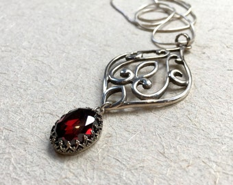 Garnet necklace, Unique necklace for her, casual Droplet pendant, statement pendant, large necklace, ornate necklace - To be free N2027