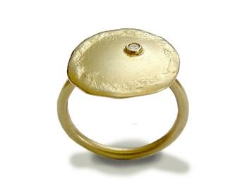 Diamond ring, Solid gold Engagement Ring, gemstone ring, 14k yellow gold disc ring, organic gold ring, alternative ring - Emotions RG1589
